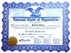 NGH認定ヒプノセラピストインストラクター証書